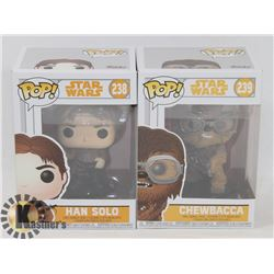 HAN SOLO AND CHEWBACCA FUNKO POP FIGURES
