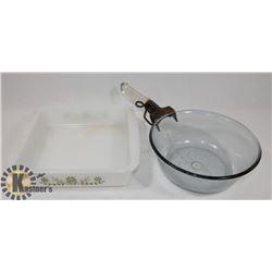 9X9 GLASSBAKE PAN AND PYREX POT