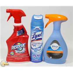 BAG OF ASSORTED HOUSEHOLD CLEANERS INCLUDING LYSOL