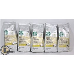 LOT OF 5 STARBUCKS 340G BAGS OF GROUND BLOND ROAST
