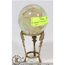 HAND BLOWN GLASS BALL ON STAND