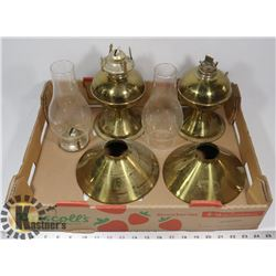 COLLECTION OF BRASS TONE OIL LAMPS AND PARTS