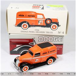 1936 DODGE PANEL TRUCK FRAM DIE CAST.