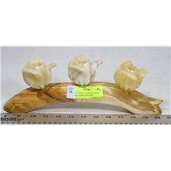 SOLID CARVED ALABASTER ROSE PETAL CANDLE HOLDER.