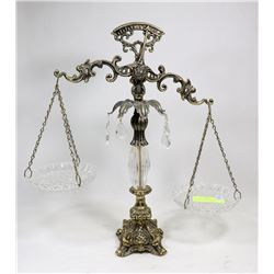 "1930'S BRASS SCALE, SEVEN CRYSTALS, 18"" HIGH"