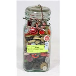 VINTAGE MASON JAR WITH BUTTONS.