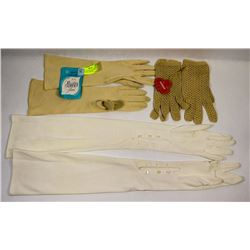 ANTIQUE BUTTON GLOVES, LACE GLOVES AND VINTAGE