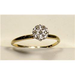 10KT YELLOW GOLD DIAMOND ESTATE RING SIZE 6.5.