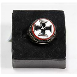 REPLICA NAZI IRON CROSS RING WITH SWAZTIKA