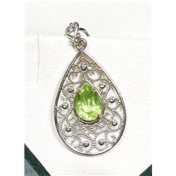 14KT WHITE GOLD PERIDOT ANTIQUE STYLE PENDANT