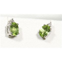 STERLING SILVER PERIDOT & DIAMOND EARRINGS