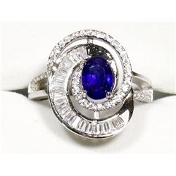 STERLING SILVER SAPPHIRE COCKTAIL RING SIZE 7.5.