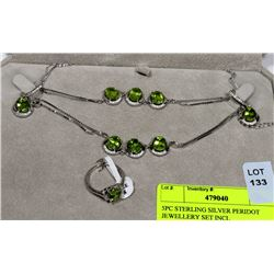 5PC STERLING SILVER PERIDOT JEWELLERY SET INCL