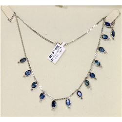 14K WHITE GOLD SAPPHIRE AND DIAMOND NECKLACE,