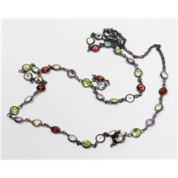 "STERLING SILVER 18"" GEMSTONE MULTI COLORED"