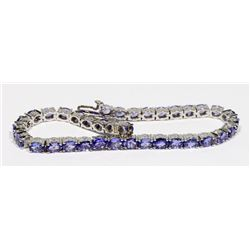 STERLING SILVER 36 TANZANITE TENNIS BRACELET