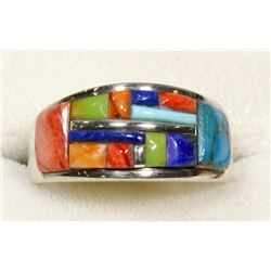 STERLING SILVER STONE INLAY RING SIZE 11