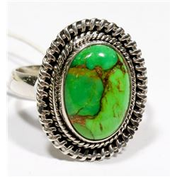 STERLING SILVER GREEN COPPER TURQUOISE RING