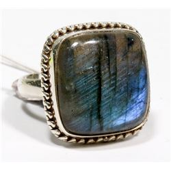 STERLING SILVER LABRADORITE RING SIZE 8.75.