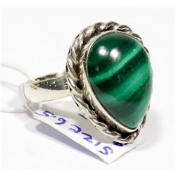STERLING SILVER MALACHITE RING SIZE 6.5.