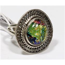STERLING SILVER DICHROIC ART GLASS RING SIZE 5.75.