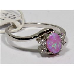 STERLING SILVER LAB OPAL RING SIZE 7.75.