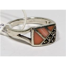 STERLING SILVER PINK MOTHER OF PEARL RING SIZE 8.