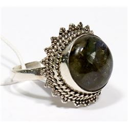 STERLING SILVER LABRADORITE RING SIZE 8.