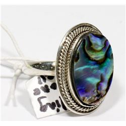 STERLING SILVER ABALONE SHELL RING SIZE 6.5.
