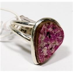 STERLING SILVER RUBY DRUZY RING SIZE 5.75.