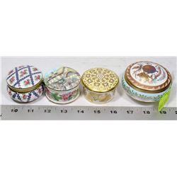 COLLECTION OF 4 BONE CHINA TRINKET BOXES INCLUDING