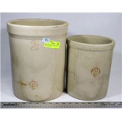 MEDICINE HAT CROCK POTTERY, 1 AND 2 GALLON