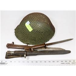 WWII HELMET WITH 3 BAYONETS
