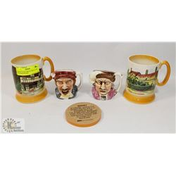 PAIR OF FOLEY MUGS AND A PAIR OF SHAKESPEARE/