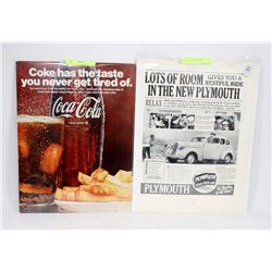 LOT OF 2 VINTAGE MAGAZINE COCA COLA AND AUTOMOTIVE