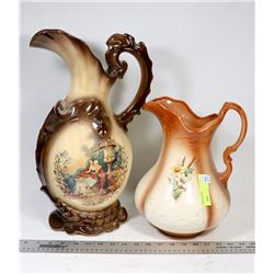 PAIR OF VINTAGE POTTERY DECORATIVE PITCHERS