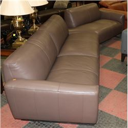 NEW 2PC GENUINE BROWN LEATHER SECTIONAL,