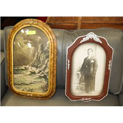 PAIR OF EARLY 1900 ANTIQUE PICTURES. ONE W/