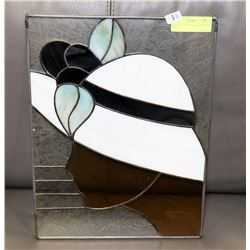 STAINED GLASS PANEL LADY HEAD PROFILE