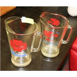 2 ADVERTISING DRAFT BEER GLASS PITCHERS