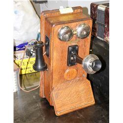 ANTIQUE OAK WALL CRANK TELEPHONE