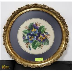 OVAL FRAMED NEEDLEPOINT PICTURE-FLOWERS