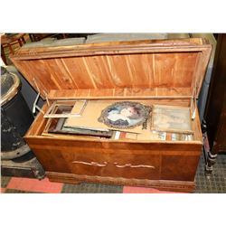 ANTIQUE CEDAR LINED TRUNK FILLED WITH ART