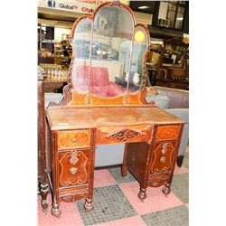ANTIQUE WOOD VANITY TABLE WITH MIRROR