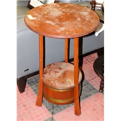 VINTAGE WOOD TALL END TABLE WITH HINGED BARREL