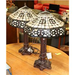 "2 TIFFANY STYLE LAMPS 23"" TALL"