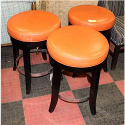 SET OF 3 BURNT ORANGE AND WOODEN STOOLS