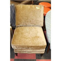 FABRIC CASUAL SEATING CHAIR WITH BRASS THUMBNAIL