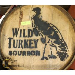 WILD TURKEY BOURBON WHISKEY LOGOED BARREL,