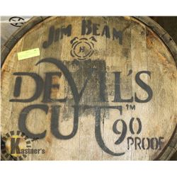 JIM BEAM, DEVILS CUT 90% PROOF BARREL, LOGOED,
